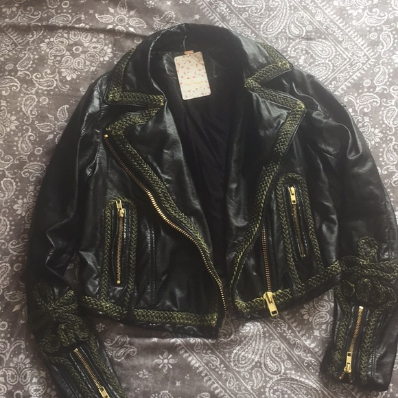 0545306be0406 FP Black Vegan Leather Embroidered Jacket NWT!